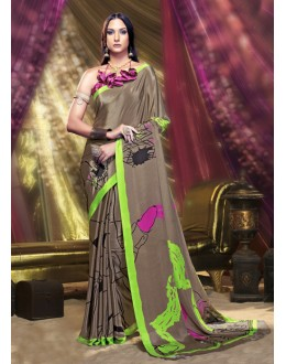 Party Wear Brown Crepe Silk Saree  - 16379
