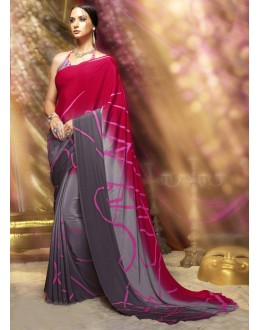 Casual Wear Red & Grey Crepe Silk Saree  - 16380