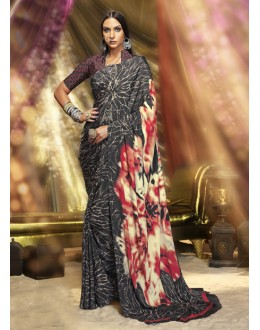 Casual Wear Multi-Colour Crepe Silk Saree  - 16384