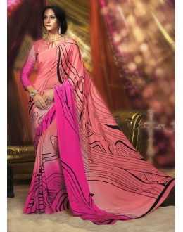 Party Wear Peach Crepe Silk Saree  - 16385