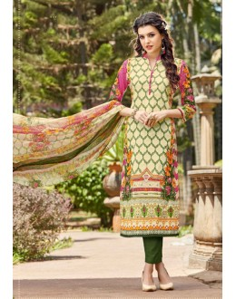 Office Wear Cream Cambric Cotton Salwar Suit - 16412