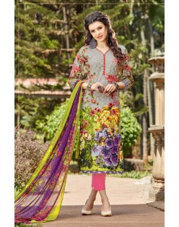 Ethnic Wear Grey Cambric Cotton Salwar Suit - 16415