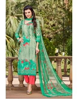 Light Greeen Cambric Cotton Salwar Suit - 16416