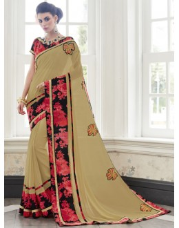 Party Wear Beige Georgette Saree  - 16438