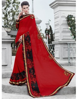 Red Colour Georgette Attractive Saree  - 16440