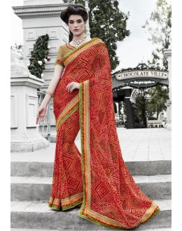 Georgette Red Printed Bandhani Saree  - 16442