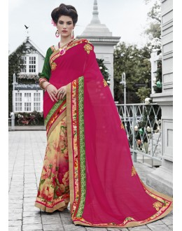 Multi-Colour Georgette Half & Half Saree  - 16445