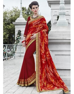 Multi-Colour Georgette Half & Half Saree  - 16446