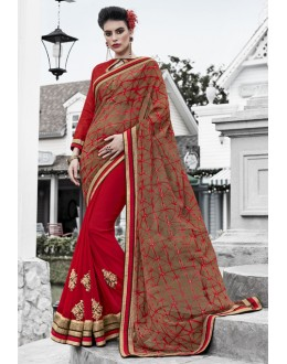 Brown & Red Georgette Half & Half Saree  - 16448