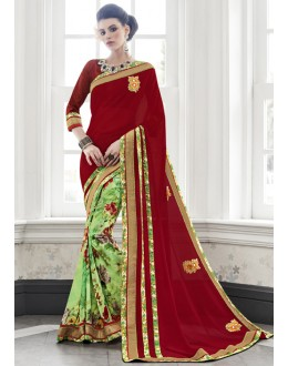 Ethnic Wear Half & Half Georgette Saree  - 16450