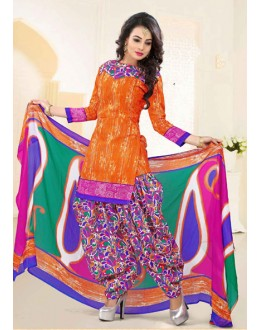 Ethnic Wear Orange Poly Cotton Patiyala Suit - 16464