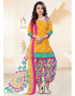 Ethnic Wear Yellow Poly Cotton Patiyala Suit - 16469