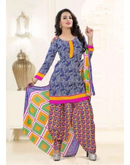 Office Wear Blue Poly Cotton Patiyala Suit - 16470