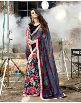 Casual Wear Multi-Colour Georgette Saree  - 16482