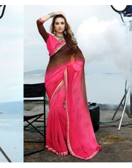 Party Wear Brown & Pink Georgette Saree  - 16487