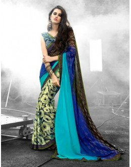 Casual Wear Multi-Colour Georgette Saree  - 16489