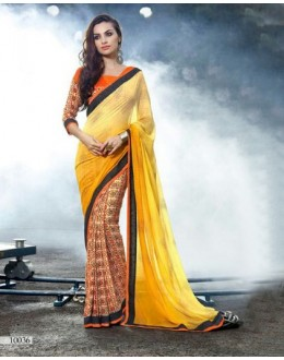 Multi-Colour Georgette Half & Half Saree  - 16491
