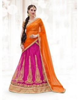 Ethnic Wear Pink Net Lehenga Choli - 16507