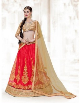 Wedding Wear Red Net Lehenga Choli - 16508