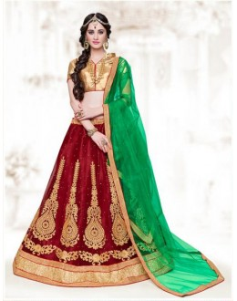 Festival Wear Red Net Lehenga Choli - 16512