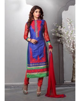 Blue Colour Glaze Cotton Designer Salwar Suit - 16543