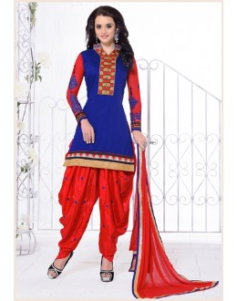 Festival Wear Blue Chanderi Cotton Patiyala Suit - 16547