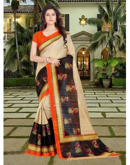 Party Wear Black & Beige Bhagalpuri Saree  - 16571