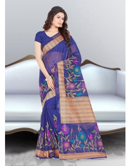 Blue Colour Bhagalpuri Printed Saree  - 16575