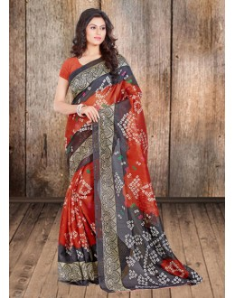 Black & Orange Bhagalpuri Attractive Saree  - 16576