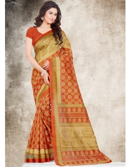 Festival Wear Beige & Orange Bhagalpuri Saree  - 16580