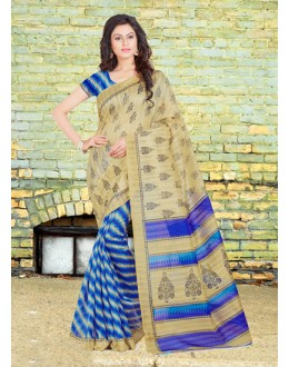 Casual Wear Beige & Blue Bhagalpuri Saree  - 16581