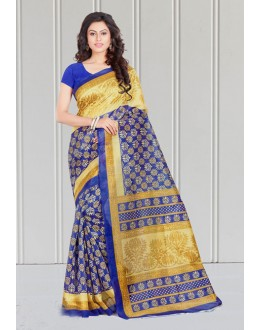 Golden & Blue Bhagalpuri Designer Saree  - 16584