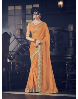 Party Wear Orange Marble Saree  - 16610
