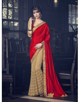 Red & Beige Fancy Half & Half Saree  - 16611
