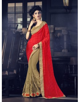 Georgette Red & Beige Half & Half Saree  - 16615