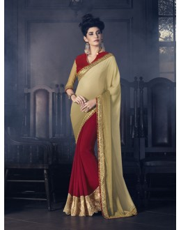 Party Wear Beige & Maroon Marble Saree  - 16619