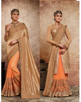 Party Wear Peach & Golden Embroidery Saree  - 16715