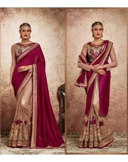Wedding Wear Maroon & Cream Embroidery Saree  - 16717