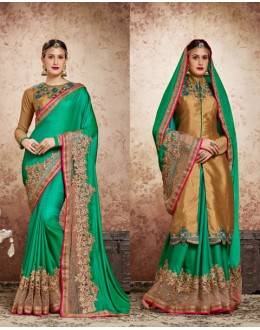 Green Colour Attractive Embroidery Saree  - 16719