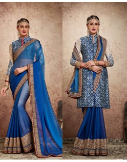 Party Wear Teal Blue Chiffon Saree  - 16720