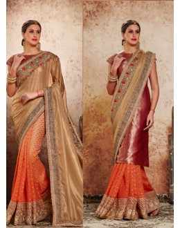 Multi-Colour Half & Half Embroidery Saree  - 16721