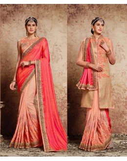 Festival Wear Pink Embroidery Saree  - 16723