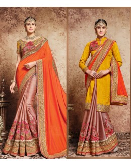 Multi-Colour Embroidery Half & Half Saree  - 16724