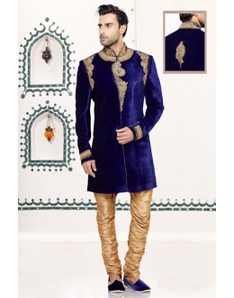 Wedding Wear Blue Velvet Sherwani - 16726