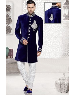 Blue Colour Readymade Attractive Velvet Sherwani - 16730