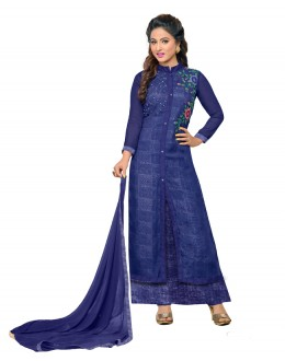 Hina Khan In Blue Georgette Salwar Suit  - 16740
