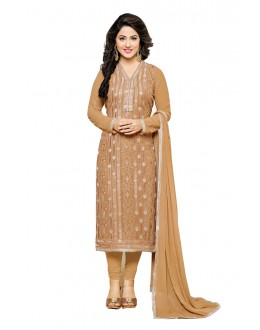 Hina Khan In Light Brown Georgette Salwar Suit  - 16742