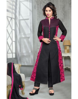 Hina Khan In Black Georgette Salwar Suit  - 16748