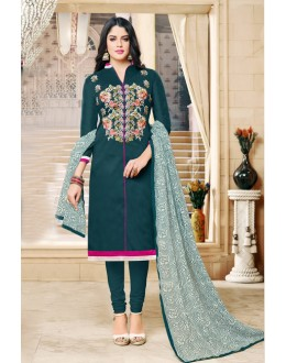 Casual Wear Deep Green Chanderi Cotton Salwar Suit - 16759