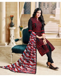 Casual Wear Multi-Colour Chanderi Cotton Salwar Suit - 16766